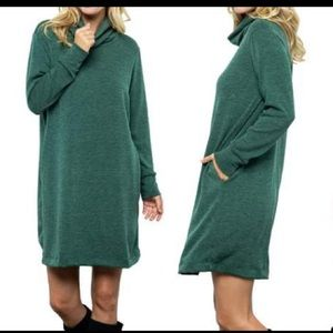 Acting pro green turtleneck sweater dress xl